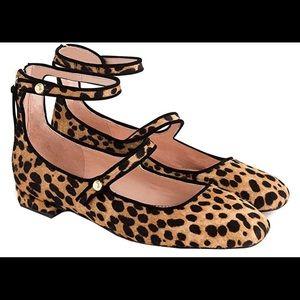 JCrew Poppy 2 Strap Ballet Flats Leopard Calf Hair